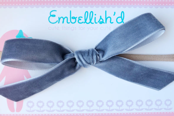 Velvet Bow Headband- Dusty Blue