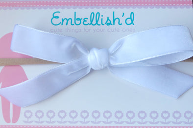 Velvet Bow Headband- Chantilly White