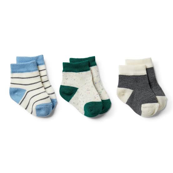 Baby Socks Storm Grey, Faded Denim, Fern -3 pack