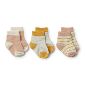 Baby Socks Jojoba, Blush, Fleck -3 pack