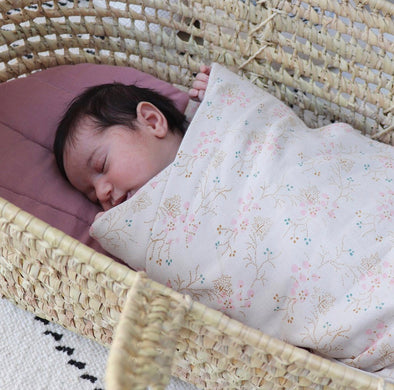 Minako Floral Single Swaddle/ Blanket Golden & Stone