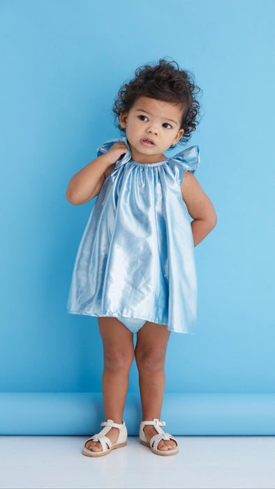 Isabella Dress - Aqua Lame