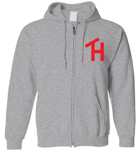 TH Zip Hoodie Red Logo