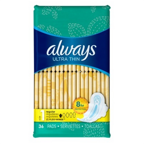 Always Pads Size 1 Ultra Thin 36 Count
