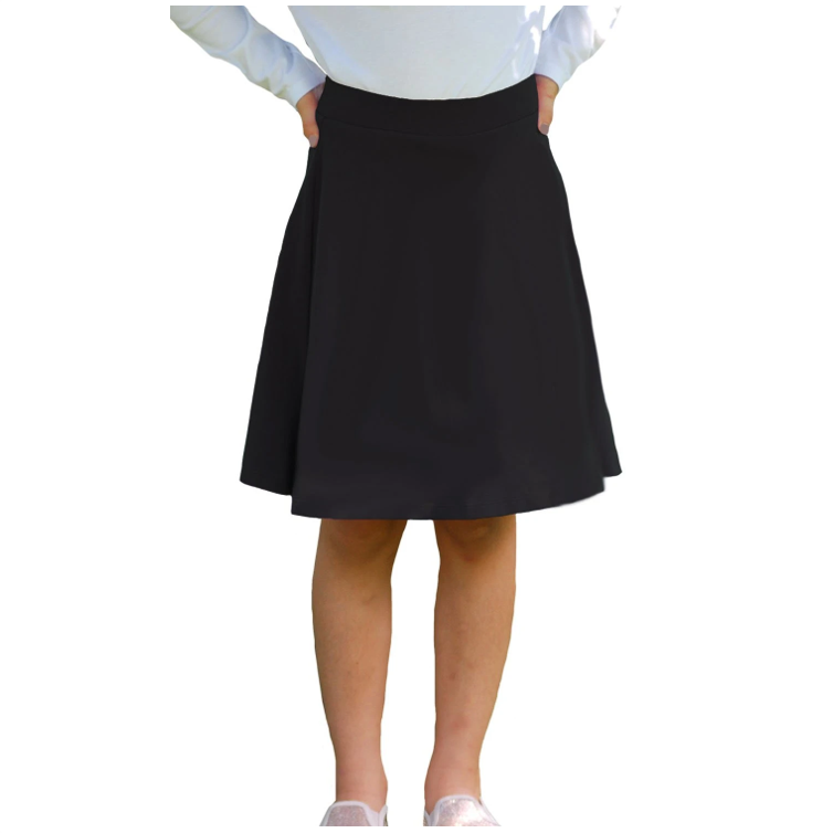 Black Knee Length Skort - Skirt with Shorts Underneath