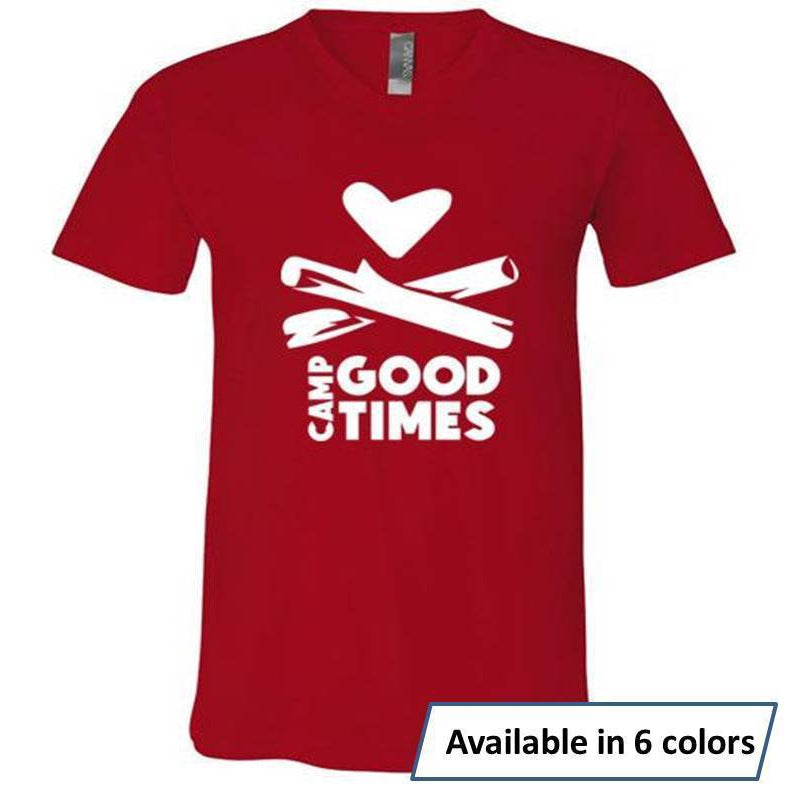 Camp Goodtimes V-Neck T-Shirt - White Logo