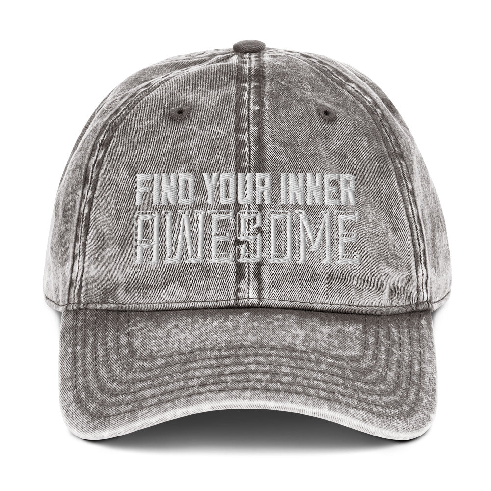 Find Your Inner Awesome Vintage Cotton Twill Cap