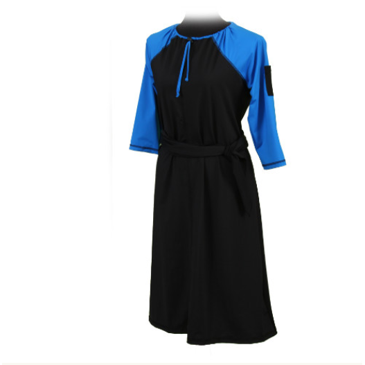 Swim Dress - Modern A-Line, 3/4 Sleeve, Below Knee Length