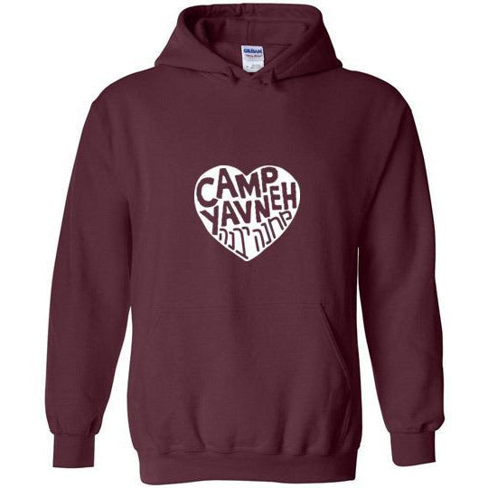 Yavneh Pullover Hoodie - White Heart Logo Front