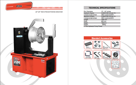 "F24 - 10"" to 24"" Hydraulic Rim Repair Machine"