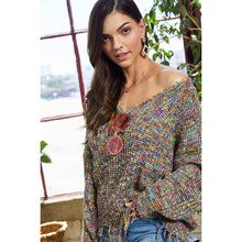 Multi Color Frayed V Neck Sweater