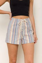 Tie Lace up Front Multi Color Strip Shorts