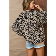 Ribbed Trim Leopard Print Long Sleeve Sweater