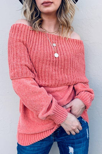 Ribbed Fold over Off Shoulder Knit Swearer-CORAL