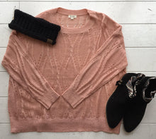 Loose Fit Round Neck Pink Sweater