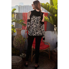 Mock Neck Cold Shoulder Leopard Print Sweater