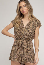 Printed Woven Romper with Front Tie Detail