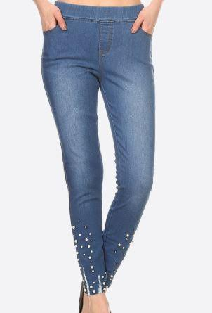 Jeggings with Pearl Accents (Dark Denim)
