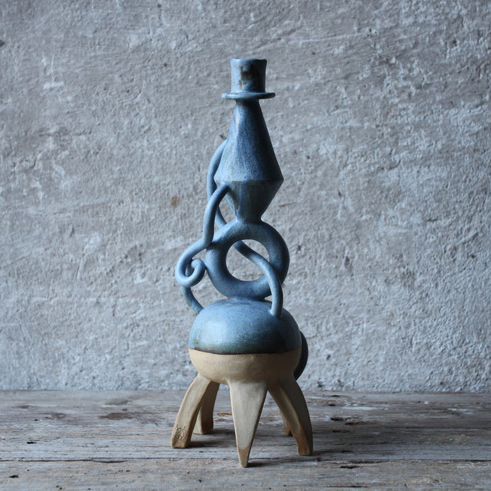 Blue Stoneware Candle Holder