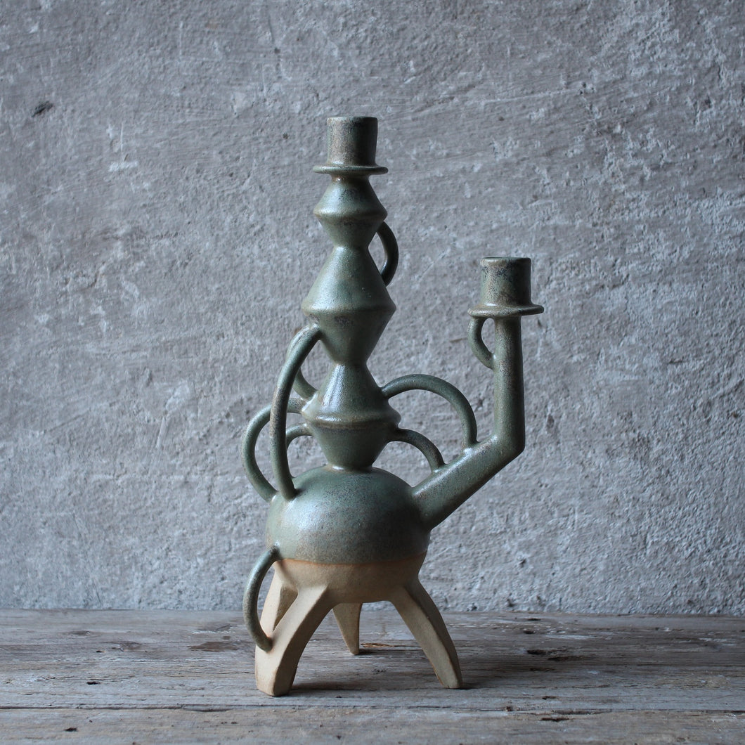 Green Stoneware Candle Holder