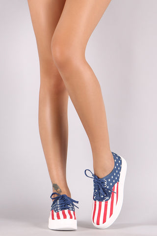 American Flag Print Canvas Lace-Up Sneaker - MyLuxGem