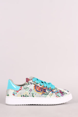 Bamboo Embroidered Floral Lace-Up Low Top Sneaker - MyLuxGem