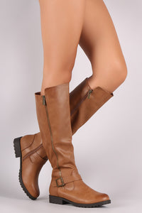 Bamboo Buckled Zipper Trim Riding Knee High Boots - MyLuxGem