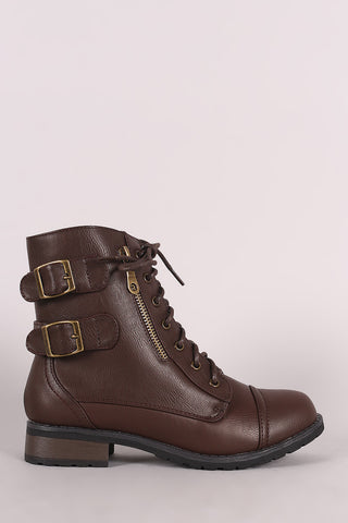 Bamboo Buckle And Zipper Trim Lace-Up Combat Ankle Boots - MyLuxGem