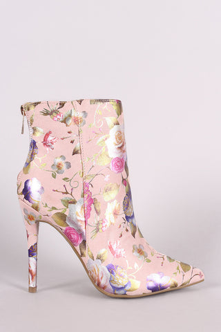Anne Michelle Suede Floral Pointy Toe Stiletto Booties - MyLuxGem