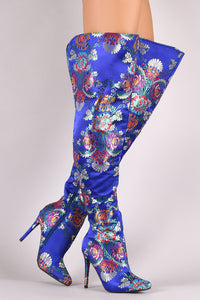 Anne Michelle Floral Pointy Toe Slit Stiletto Over-The-Knee Boots - MyLuxGem