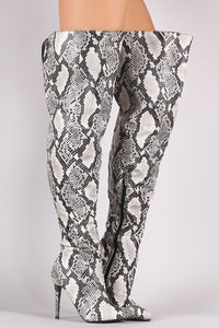 Anne Michelle Python Pointy Toe Slit Stiletto Over-The-Knee Boots - MyLuxGem