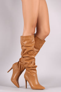 Anne Michelle Slouchy Pointy Toe Knee High Stiletto Boots - MyLuxGem