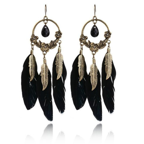 Blaque Feather Earrings - MyLuxGem