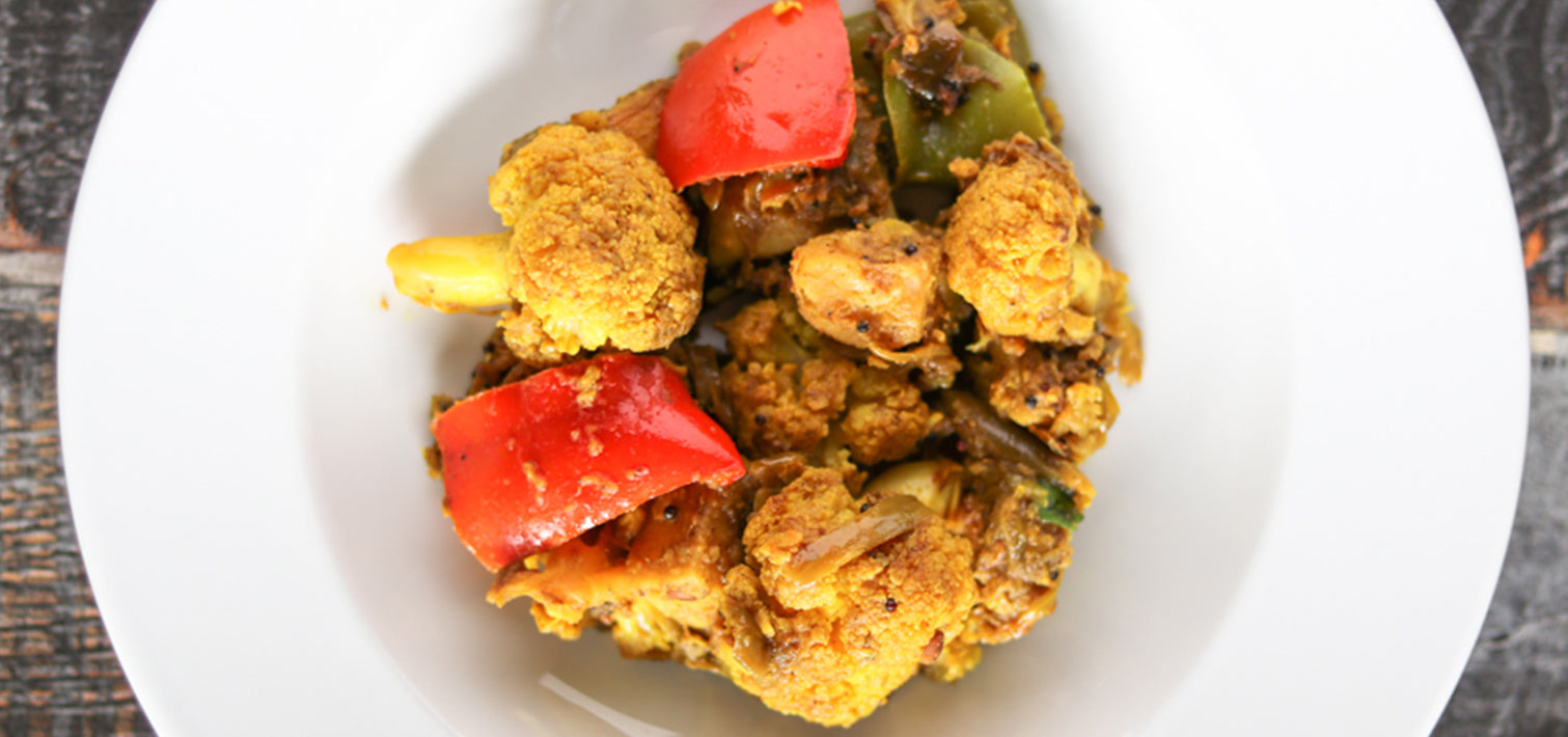Cauliflower, Bell Peppers and Potato Stir-Fry