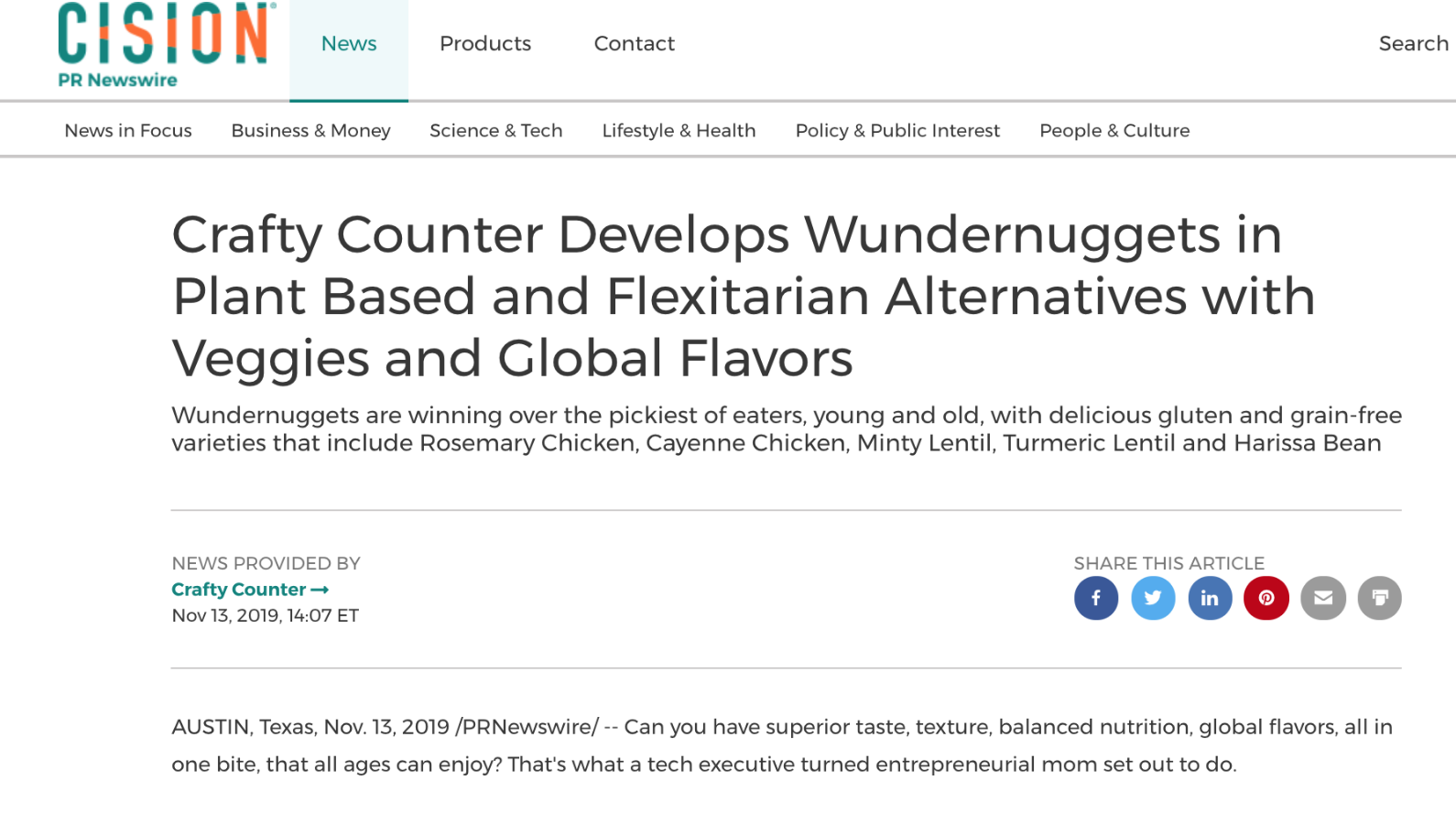 PR Newswire Release about Wundernuggets