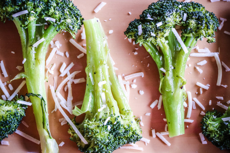 roasted broccoli dusted with fresh parmesan cheese