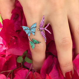 Colourful Birds & Butterfly Ring - LimeLiteJewellery.com