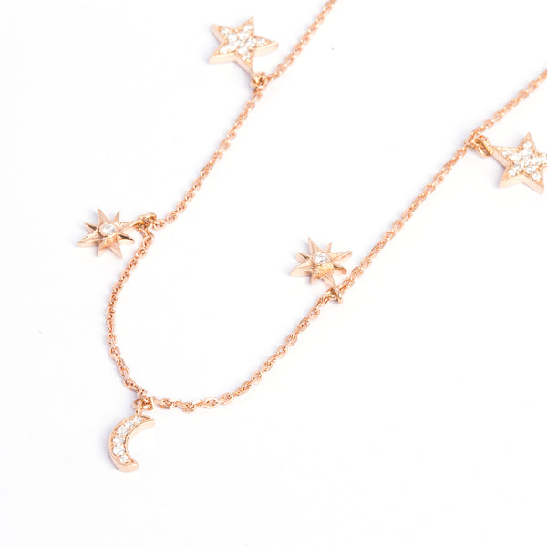 Moon & Star Necklace - LimeLiteJewellery.com