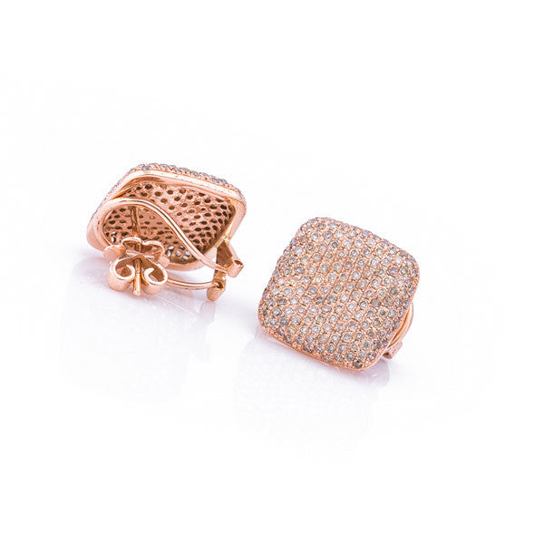 Square Pave Stud Earrings - LimeLiteJewellery.com
