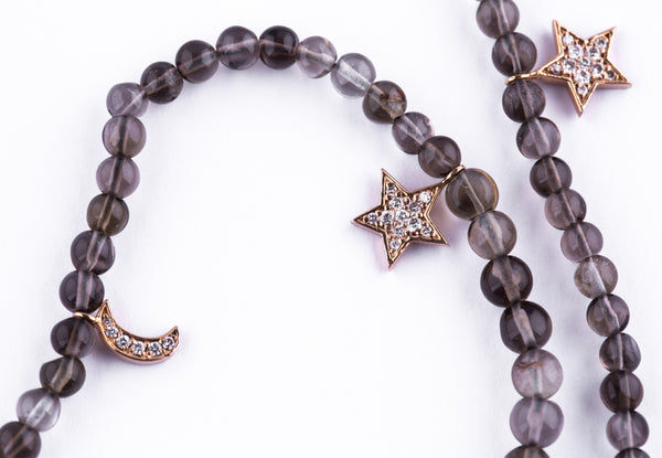 Smokey Topaz Bracelet with Moon & Star Charms - LimeLiteJewellery.com