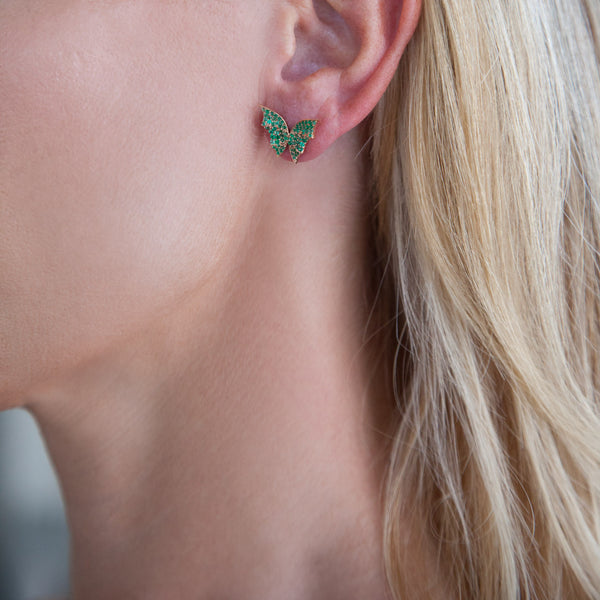 Butterfly Earrings - Rose Gold Green Emeralds