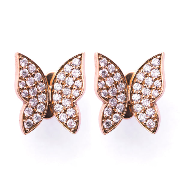 Butterfly Earrings - Rose Gold White Diamonds