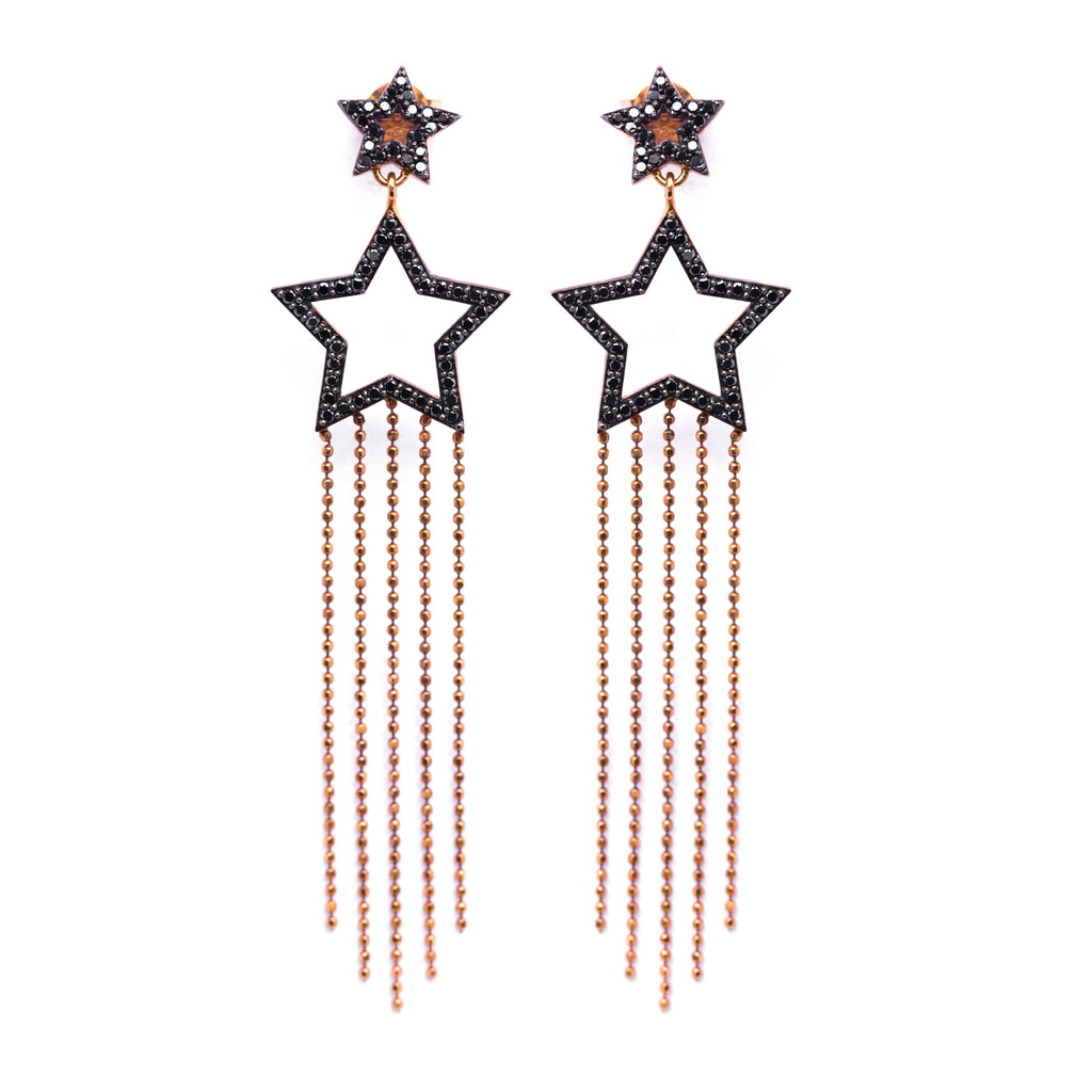 Shooting Star Earrings - Black - LimeLiteJewellery.com