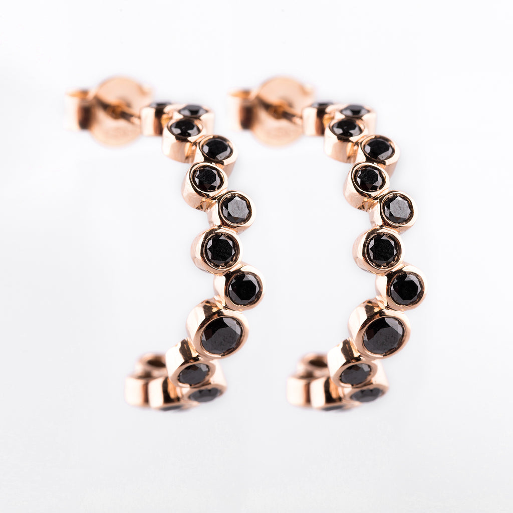 Black Diamond Hoop Earrings - LimeLiteJewellery.com