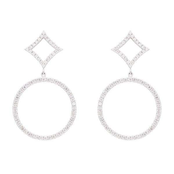 Circle Diamond Earrings - LimeLiteJewellery.com
