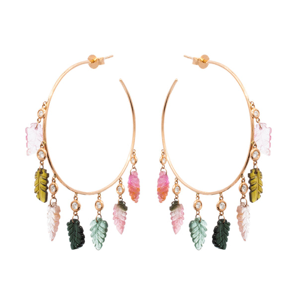 Colourful Leaf Hoops - LimeLiteJewellery.com