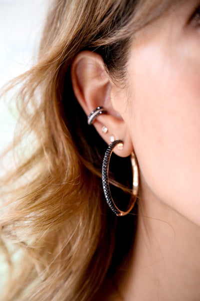 Thick Black Diamond Hoops - LimeLiteJewellery.com