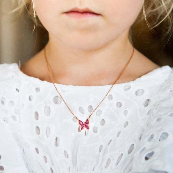 Butterfly Necklace Pink