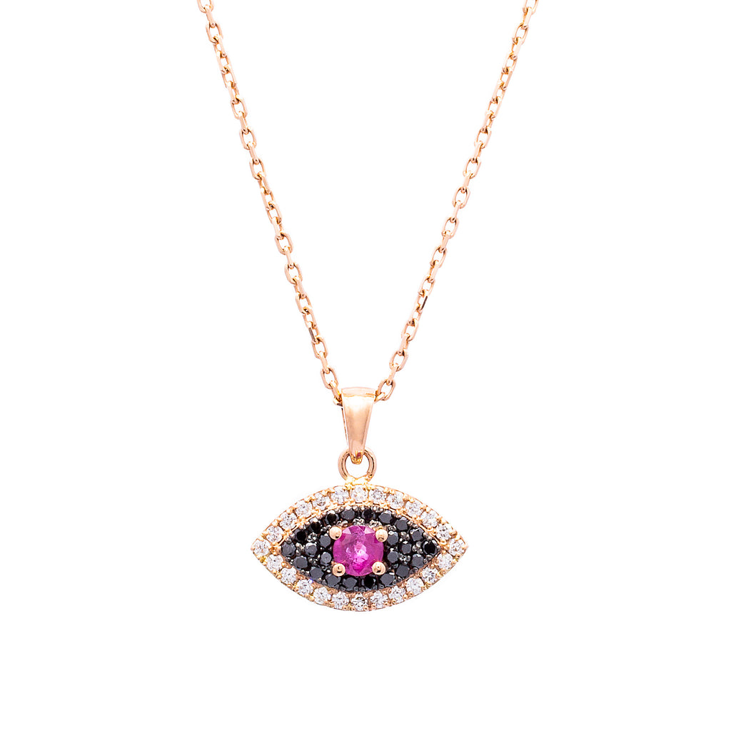 Black Diamonds and Ruby Evil Eye Necklace - LimeLiteJewellery.com