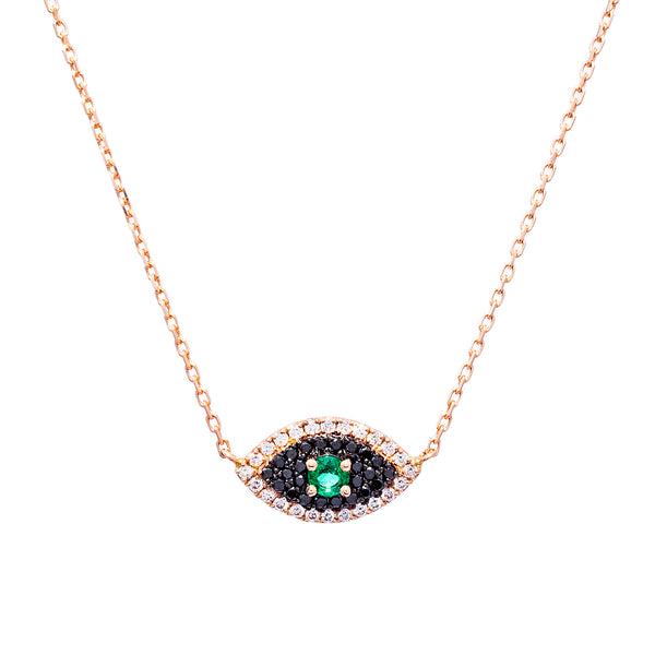 Black Diamond & Emerald Evil Eye Necklace - LimeLiteJewellery.com